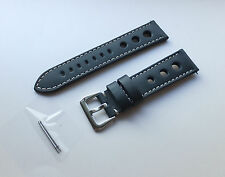 20MM Pilot Rally Blue Racing SMOOTH 3 Holes Genuine Leather Watch Band,Strap Men