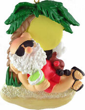 "SANTA ON BEACH Tropical Christmas Ornament, 3.75"" Tall, Ornament Central"