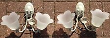 2 Set Twin Iron French Country Wall Light Sconce Glass Floral Shade Shabby Chic