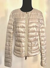 Herno Women's Cropped Silver Down Puffer Jacket Size 44, US 10 Made in Italy NWT