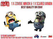 1 X ZOMBIE MINION & 1 X SCARED MINION CAR, TRUCK WALL OR DOOR STICKER DECAL