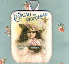 Victorian Christmas ~ Cacao en Cocolaad ~Glittered Wooden ORNAMENT ~Shabby Chic