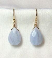 BLUE LACE AGATE FACETED GEM STONE 14k GOLD FILLED DROP EARRINGS SERENITY