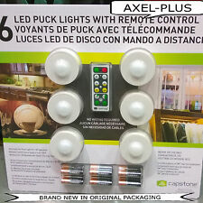 6 LED Puck Lights w/ Remote Control plus Batteries Wireless ,Capstone ,NEW !