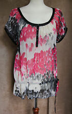 Sheer Black and Pink Top with Drawstring - Size 12 - Atmosphere