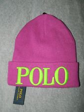 Ralph Lauren Polo Knit Beanie Hat Purple Cactus Flower Neon One Size NWT! $48