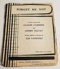 Partition sheet music BOBBY VEE : Forget Me Not (Les Vandyke) * 60's Carrère