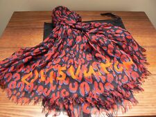 LOUIS VUITTON STEPHEN SPROUSE RED/BLUE/BLACK LEOPARD SCARF NUMBERED EDITION NEW