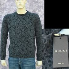 GUCCI New sz XL Authentic Wool Cashmere Designer Leopard Print Mens Sweater