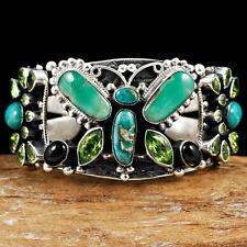 A+ LEO FEENEY Green Turquoise BUTTERFLY Bracelet Sterling Silver Gemstone Cuff