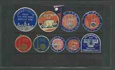 1939-40 NY WORLDS FAIR COLLECTION OF 10 MINI LABELS 8 FOIL, 2 PAPER W/GUM MINT