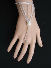 WOMEN SILVER THIN METAL FASHION HAND CHAIN BRACELET SLAVE RING CENTER PEARL BEAD