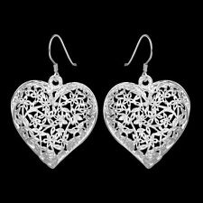 New Silver Plate Carved Flower Lace Like Large Heart Shaped Dangle Drop Earrings