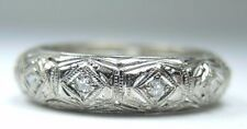 Antique Vintage Diamond Eternity Wedding Band Platinum Ring Size 6.5 EGL USA