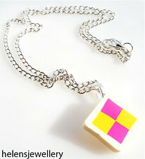 GORGEOUS HANDMADE BATTENBURG CAKE NECKLACE + FREE GIFT BAG