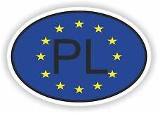 OVAL EUROPEAN UNION FLAG WITH PL COUNTRY CODE STICKER POLAND MOTOCYCLE AUTO