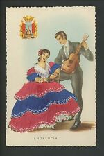 Embroidered clothing postcard Artist MNG, Spain, Andalucia woman man guitar #7