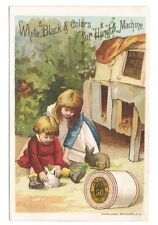 J.& P. Coats Six Cord Thread Young Girls With Bunnies Trade Card
