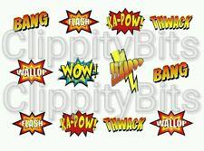 "50 x 1"" Inch Pre Cut Bottle Cap Images Comic wording Bang Ka Pow Crafts Bows"