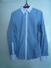 Ladies blue x white Stripe Fitted Long Sleeve Dress Shirt ZARA XS Near Mint