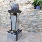 Zimmerbrunnen Feng Shui mit drehender Kugel Brunnen Zierbrunnen Beleuchtung grau