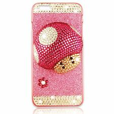 CRYSTAL BLING RHINESTONE 3D WHITE PINK MARIO MUSHROOM IPHONE 6 PLUS COVER CASE