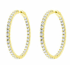 4.02 ct Round cut Diamond 14k Yellow Gold HOOP Earrings 80 x 0.05 ct each, 1.5""