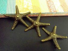 3 STARFISH BRONZE METAL CHARMS EMBELLISHMENTS CARDS JEWELLERY