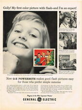 Original 1950s GE Powermite flash camera ad 10½ x 14 inches tavern trove