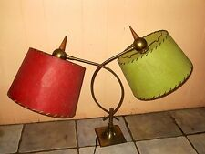 VINTAGE MID CENTURY ERA MAJESTIC BRASS & FIBERGLASS SHADES TABLE  TABLE LAMPS