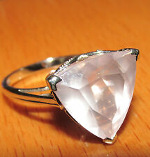 BEAUTIFUL SECONDHAND 9ct ROSE GOLD MISTY ROSE QUARTZ & DIAMOND RING SIZE N1/2