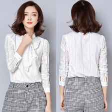 Lady Long Sleeve Shirt Casual Lace Blouse Loose Cotton Top T Shirt Size S White
