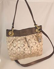 Authentic Coach Monogram Metallic Canvas Leather 2-Way Cross-body Shoulder Bag