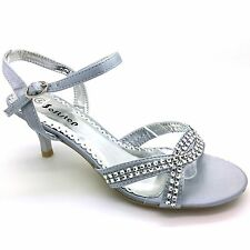 WOMENS EVENING PARTY WEDDING KITTEN MID HEEL DIAMANTE SIMULATED PROM SANDALS S-2