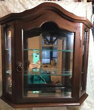 Vintage Wood Curio Wall Display Table Top Cabinet with Door and 2 Glass Shelves