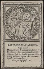 santino incisione 1600  S.BERNARDO TOLOMEI DA SIENA