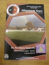 22/08/2015 Atherstone Town v Pershore Town  . Footy Progs/Bobfrankandelvis, expe