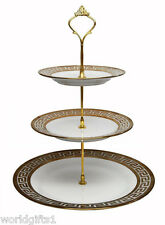 Greek Medusa White Porcelain 3-Tier Cake Stand Gold-plated, Candy, Cupcakes