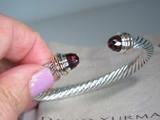 DAVID YURMAN  7MM GARNET 14K YELLOW GOLD & STERLING SILVER CUFF BRACELET