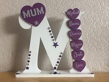 Handcrafted Wooden letter M for Mum/Mummy/Mam birthday, gift, personalised