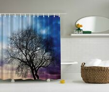 Giant Tree Digital Print Shower Curtain Cloudy Sky Bare Branches Bath Decor