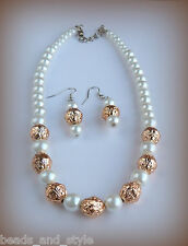 Elegant classic gold pearls beads necklace earring set / indian fashion jewelry