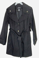 LONDON FOG Ladies womens SZ LG Black trench dress rain coat Hooded Hood NEW