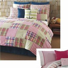 HILFIGER Comforter Sham + NAUTICA Sheets Pillows = 7pc Twin/Twin-XL Bedding Set