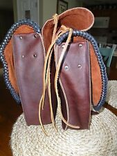 Western Saddle Bag Motorcycle or Horse, Handmade, Hand Laced Leather