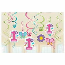 SWEET 1ST BIRTHDAY GIRL PARTY SWIRLS HANGING DECORATION PACK OF 12