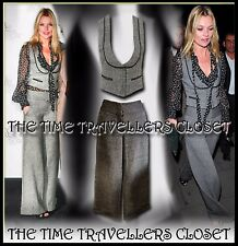 Kate Moss Topshop Grey Wool Tweed Thick Winter Trouser Waistcoat Suit 2 Set UK 8