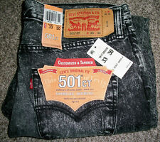 LEVI'S 501 CT Original Fit Tapered Stonewash Black Denim Jeans NWT 34x32 $68