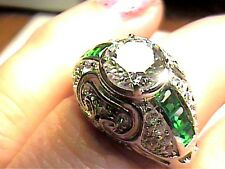 DECO RING 8 white topaz silver  sterling 925 white gold filigree engagement WOW