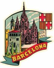 BARCELONA   Spain    Vintage-1950's Style   Travel Sticker/Decal